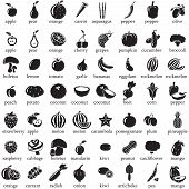 stock photo of black-cherry  - Set of fruits and vegetables vector icons - JPG