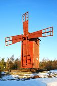 Red Wooden Windmill