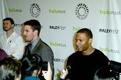BEVERLY HILLS - MARCH 9: Stepehen Amell and David Ramsey are intereviewed by the media at the 2013 P