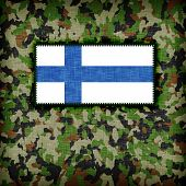 image of ami  - Amy camouflage uniform with flag on it Finland - JPG