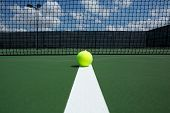 Tennis Ball on the Court Line with the Net in the background