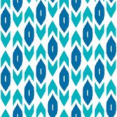 Ikat traditional middle east fabric in blue seamless pattern, vector