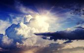 stock photo of cumulus-clouds  - Overcast sky before storm - JPG