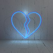Illuminated broken heart illustration in amodern  background