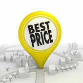 Best price icon inside a yellow map pointer