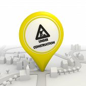 Under construction pictogram inside a yellow map pointer