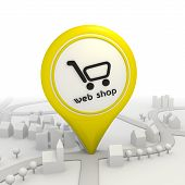 Webshop icon  inside a yellow map pointer