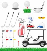 picture of ball cap  - set golf icons vector illustration isolated on white background - JPG