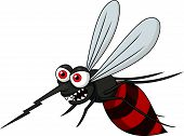pic of mosquito  - Vector illustration of angry mosquito cartoon isolated on white - JPG