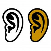 stock photo of sensory perception  - Vector human ear symbols - JPG