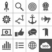 Search engine optimization, internet marketing icons. Vector illustration. Simplus series