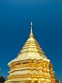 Golden Pagoda, Wat Phrathat Doi Suthep Temple In Chiang Mai, Thailand.