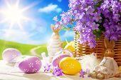 stock photo of easter eggs bunny  - art Easter card with Easter bunny and Easter eggs - JPG