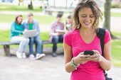 College girl text messaging with blurred students sitting in the park