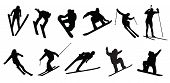 stock photo of discipline  - silhouette of people winter sport skier jumping - JPG