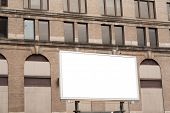 Blank Advertising Billboard Sign On Brick Wall Background Texture