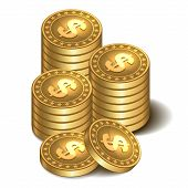 pic of copper coins  - Vector illustration stacks of golden coins isolated on a white background - JPG
