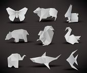 stock photo of sheep-dog  - vector illustration of origami animals  - JPG
