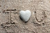 stock photo of pumice-stone  - Grey stone in shape of heart - JPG