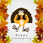 Beautiful, colorful cartoon of turkey bird for Happy Thanksgiving celebration on maple leaves backg
