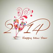 Beautiful Happy New Year 2014 celebration concept with colorful wine glasses in toasting gesture wit