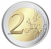 Two euro coin vector illustration isolated on white background