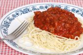 Top View Spaghetti With Meat Sauce poster