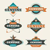 Set of genuine quality labels. Vector illustration.