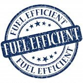 Fuel Efficient Grunge Blue Round Stamp