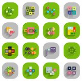 Infographic templates inside colorful circles. Set of flat icons with shadow for business / technolo