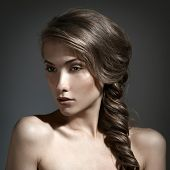 Beautiful Woman Portrait. Long Brown Hair