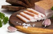 Sliced salted pork lard (salo)
