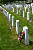 Arlington National Cemetery with a flag next to each headstone during Memorial day - Washington DC U