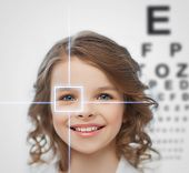 health, vision, medicine, laser correction, happy people concept - smiling pre-teen girl with optome