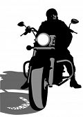 Vector drawing silhouettes of motorcyclists protective gear.