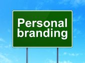 Marketing concept: Personal Branding on road sign background