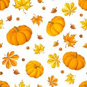 Seamless pattern with pumpkins and autumn leaves. Vector illustration.