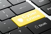 Security concept: Shield and Cyber Crime on computer keyboard