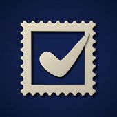 vector paper positive checkmark postage stamp