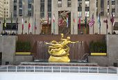 Statue of Prometheus at the Lower Plaza of Rockefeller Center in Midtown Manhattan