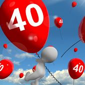 Number 40 Balloons Shows Fortieth Happy Birthday Celebration