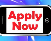 Apply Now On Phone Shows Job Applications And Recruitment
