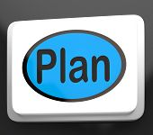 Plan Button Shows Objectives Planning And Organizing