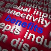 Benefits Word Cloud Shows Advantage Reward Perk