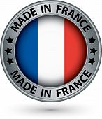 Made In France Silver Label With Flag, Vector Illustration