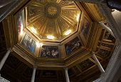 Rome, Italy - April, 19: Painted Dome With Biblical Story In The Loggia Delle Benedizioni, On The  P