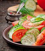 image of lenten  - Tomato and cucumber salad with black pepper and basil - JPG