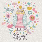 Vintage greeting card with cute owl and floral wreath with butterflies. Beautiful summer background,