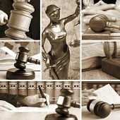 stock photo of umpire  - Set of wooden gavel and law 2 sepia - JPG
