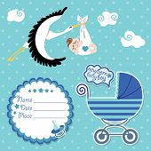Baby Shower Card,invitation,scrapbook With Stork And European Boy